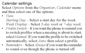Screenshot of the user manual describing calendar-based profile switching.
